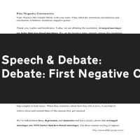 Debate: First Negative Constructive