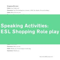 ESL Shopping Role play