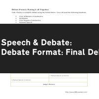 Debate Format: Final Debate