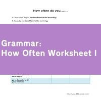 How Often Worksheet I